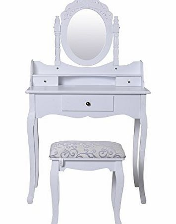 Bedroom Dressing Table Set with Adjustable Oval Mirror and Stool