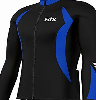 FDX Mens Cycling Jersey Full sleeve Winter Thermal Cold Wear Fleece Top Bike racing team (Black/Blue, Large)
