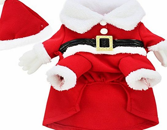 FEESHOW Dog Cat Christmas Santa Claus Costume Pet Fancy Dress Coats Jacket Apparel Outfits Red X-Small(Chest:12.5inch)