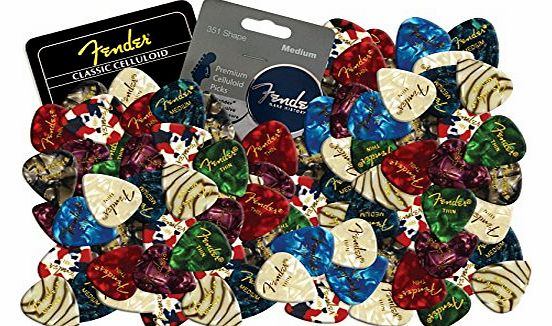 Fender Celluloid Guitar Picks Plectrums 12 X Random Mixed Pearl Colours (Medium) product image