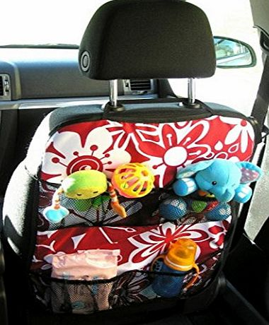 Ferocity CAR SEAT ACCESSORIES KIT ORGANIZER/PROTECTOR WITH POCKETS (burgundy flower)