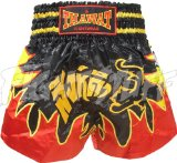 FightStuff Thawat Black Tiger Flame Muay Thai Boxing Shorts, XL