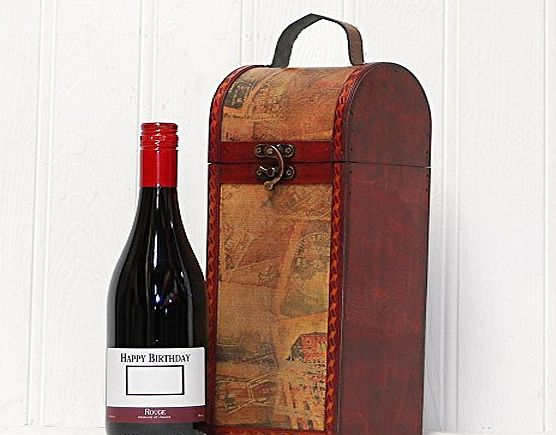 Fine Food Store Happy Birthday Red Wine - Premium French Red Wine 750ml in a Quality Wooden Replica Vintage Style Chest