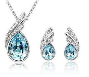 Fine Jewelry Set JF001 Teardrop Shape Faux Crystal Diamond Silver Plated Necklace & Earrings 1 Set product image
