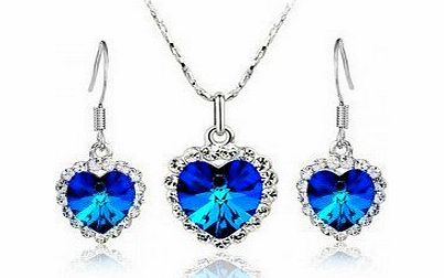 Fine Jewelry Set JF004 Titanic Faux Crystal Diamond 925 Silver Plated Necklace amp; Earrings 1 Set product image