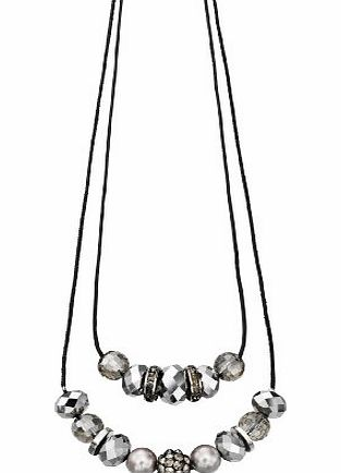 Fiorelli Costume Collection Ladies N3420 Hematite amp; Clear Glass Bead Necklace Length 60+5cm product image