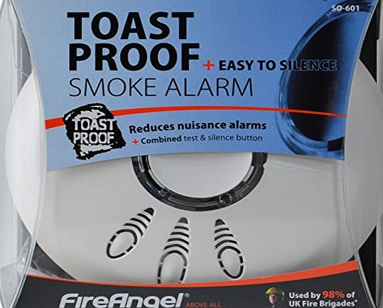 Fireangel SO-601 Toast Proof Optical Smoke Alarm Detector with Hush amp; Battery