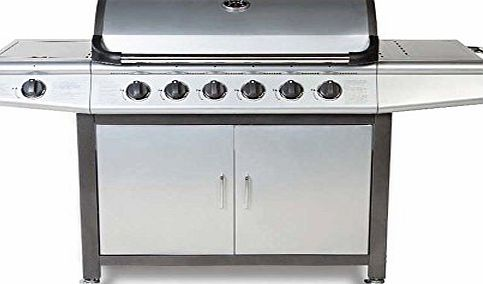 FirePlusTM Fireplus 6 1 Gas Burn Grill BBQ Barbecue w/ Side Burner amp; Storage - Silver amp; Grey