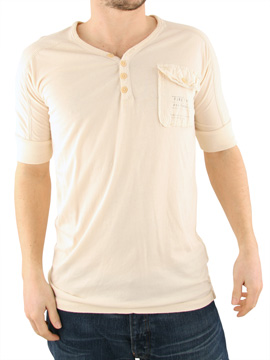 Firetrap Cream Push Y-Neck T-Shirt product image