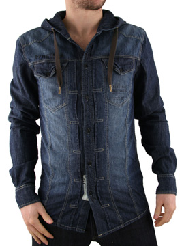 Firetrap Medium Wash Hooded Denim Shirt product image