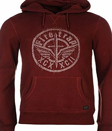 Firetrap Mens Ivory Hoody OTH Hoodie Long Sleeve Hooded Casual Top Burgundy L