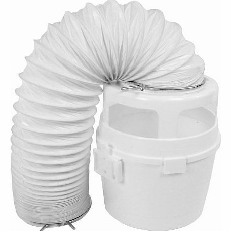4ft Vent Hose Condenser Bucket Wall Mount Kit for Bosch Tumble Dryers (White)