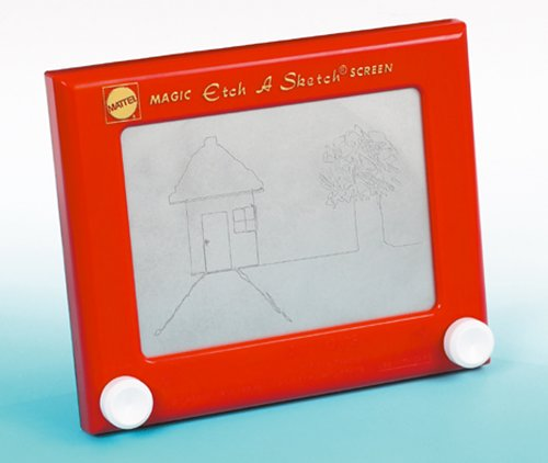 etch a sketch The original magic screen that's fun and easy to use left knob draws left and right right knob draws up and down turn both knobs together for angles and curves.