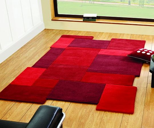 Flair Rugs Abstract Collage Pure Wool Hand Carved Rug, Red, 120 x 180 Cm product image