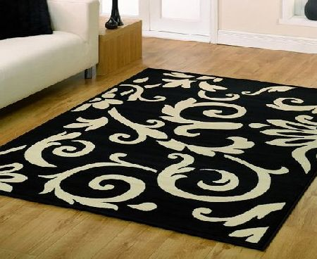 Flair Rugs Black Rug - Classic Scroll Design - Retro Style - W 60cm x L 110cm product image