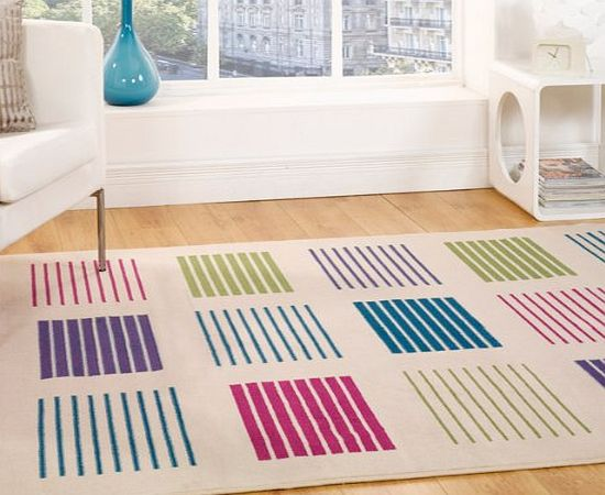 Flair Rugs Element 5861 Box Stripe Rug, Multi, 60 x 220 Cm product image