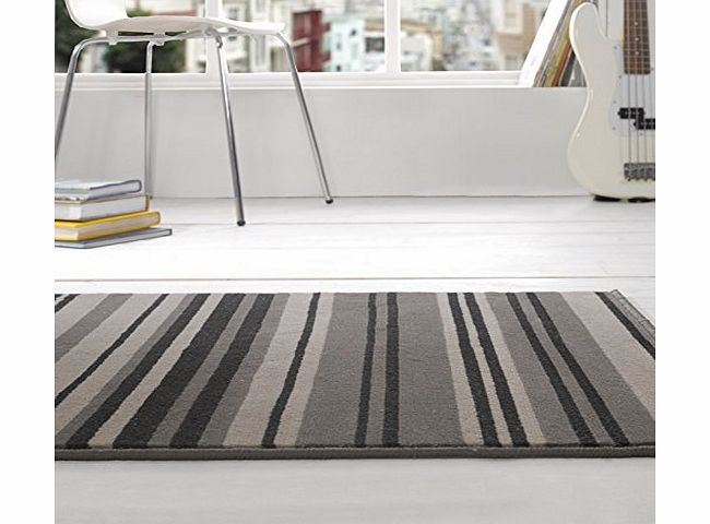 Flair Rugs Element Canterbury Striped Rug, Grey/Black, 120 x 160 Cm product image
