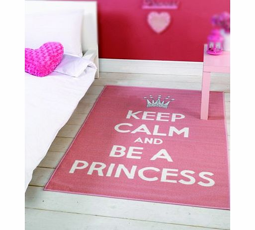 Flair Rugs Matrix Themes Keep Calm And Be A Princess Rug, Pink/White, 100 x 160 Cm product image