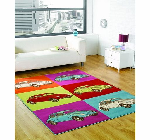 Flair Rugs Retro Funky Bug Multi Childrens Rug Rug Size: 160cm x 120cm (5 ft 3 in x 3 ft 11 in) product image
