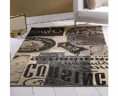 Flair Rugs Retro Funky Insignia Rug, Charcoal, 160 x 225 Cm product image