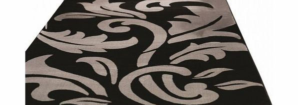 Flair Rugs Sincerity Modern Script Rug, Black/Silver, 120 x 170 Cm product image