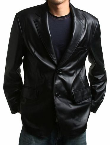 FLATSEVEN Mens Genuine Leather Jacket Sheepskin Blazer two button (LJ112) XL