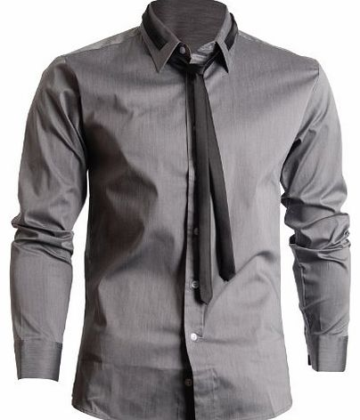 FLATSEVEN Mens Slim Fit Dress Shirts with Tie (SH107) Grey, XL