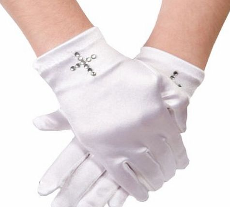 Satin Girls Short Fingered Communion Glove,Wrist Length with Diamante Cross