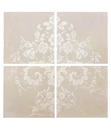 Damask Cream on Taupe 4 Tile Panel Ends