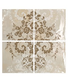 Damask Cream on Taupe 4T Panel Vertical