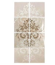 Damask Cream on Taupe 8T Panel Vertical