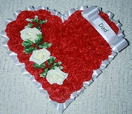 floral supplies handmade funeral tribute artificial flowers 15`` heart red carnation ivory rose