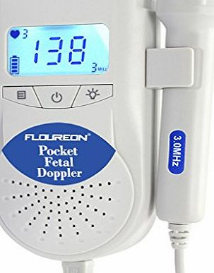 FLOUREON  Fetal Doppler 3MHZ Fetal Baby Heart Rate Monitor Backlight LCD Display with Gel and Battery