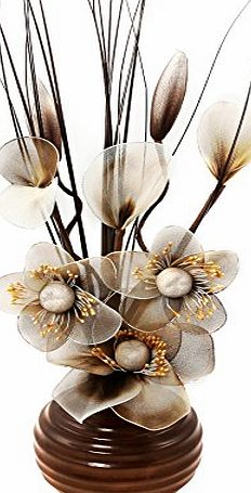 Flourish 704681 813 Brown Vase with Brown and Cream Nylon Artificial Flowers in Vase, Fake Flowers, Ornaments, Small Gift, Home Accessories, 32cm