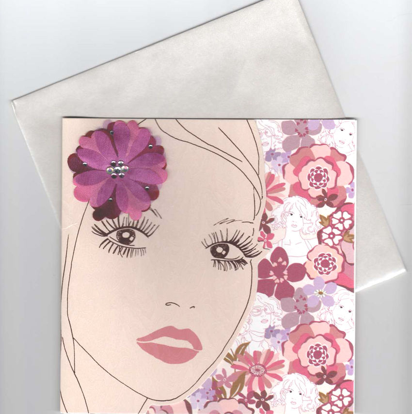 Power Flirty 60s Girl Blank Greeting Card - CLICK FOR MORE INFORMATION