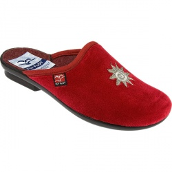 Womens Star Textile Upper Textile Lining Comfort House Mules and Slippers in Black, Red