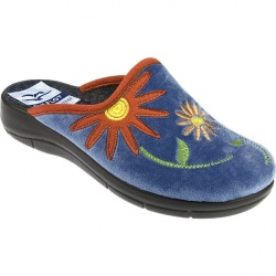Womens Wave Textile Upper Textile Lining Comfort House Mules and Slippers in Blue, Navy