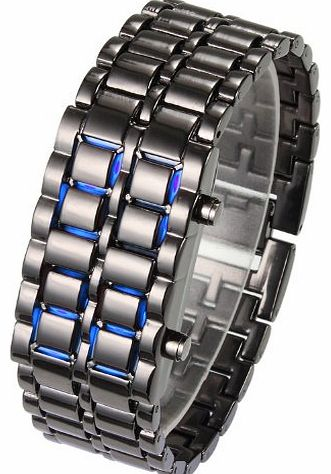 Flylink Vogue Blue LED Volcanic Lava Faceless Metallic Black Bracelet ,Unisex Sports Wrist Watch product image