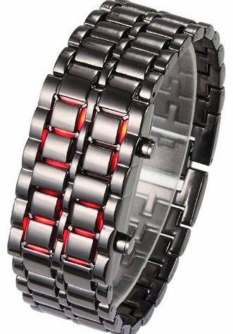 Flylink Vogue Red LED Volcanic Lava Faceless Metallic Black Bracelet ,Unisex Sports Wrist Watch product image