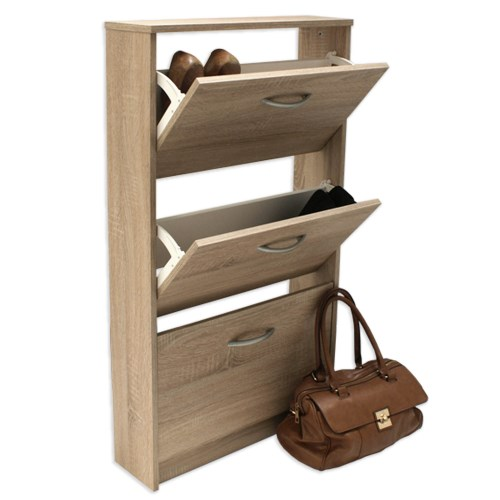 FMD Mobel Designer 3 Tier Shoe Cabinet in Oak - 9 pairs product image