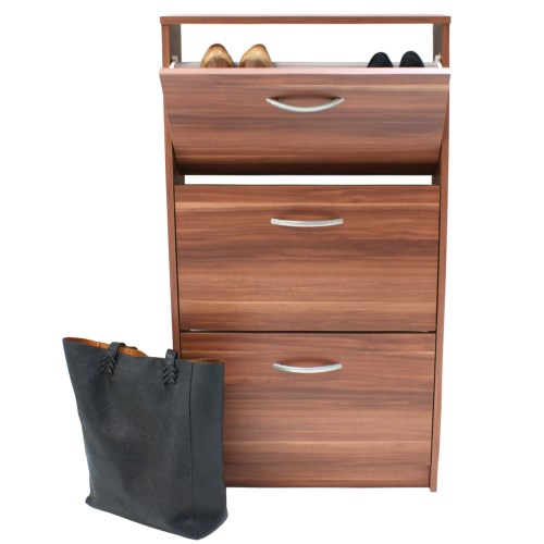 FMD Mobel Designer 3 tier shoe Cabinet in Walnut - 9 pairs product image
