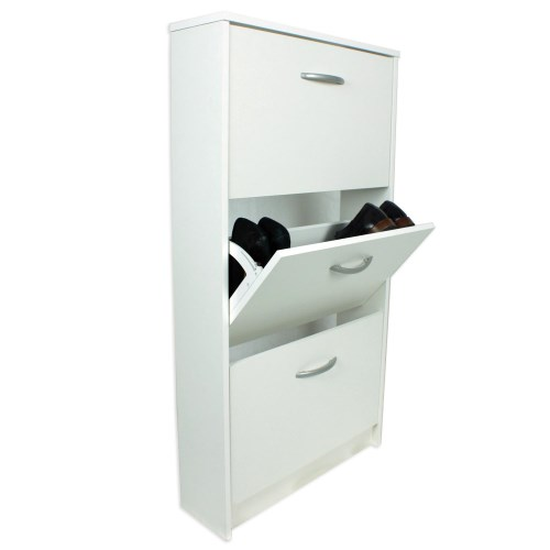 FMD Mobel Designer 3 tier shoe cabinet in white - 6 pairs product image