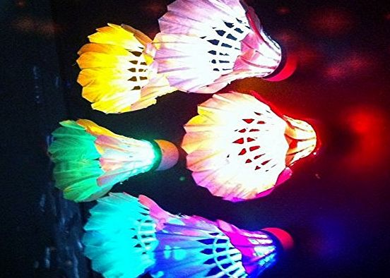 FOME Brand New LED Badminton Shuttlecock Dark Night Glow Birdies Lighting For Indoor Sports Activities 8PCS Color  FOME Gift