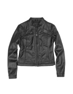 Forzieri Black Genuine Leather Motorcycle Zip Jacket product image