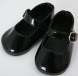 MEDIUM SIZE BLACK PATENT DOLLS SHOES