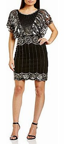 Frock and Frill Womens Katie Bat Wing Cocktail Short Sleeve Dress, Black, Size 12 product image