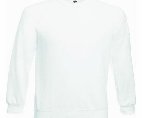 Fruit of the Loom Mens Raglan Sweatshirt Jumper White Small