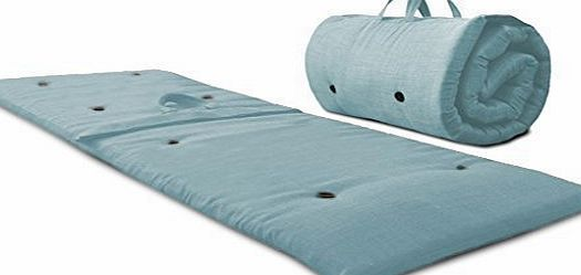 Fun!ture Duck Egg Blue Roly Poly Futon Sleeping Mattress - Roll Up/ Zip Up/ Guest Bed