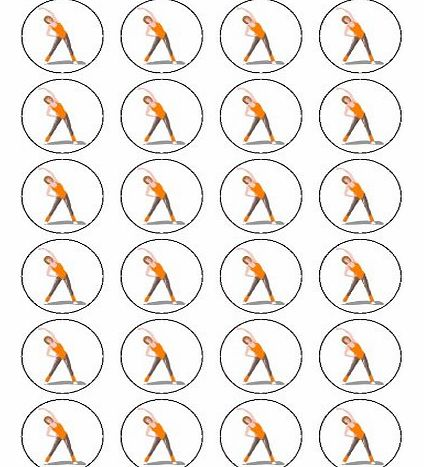 X24 1.5`` Fitness Exercise / Aerobics Cup Cake Toppers Decorations on Edible Rice Paper