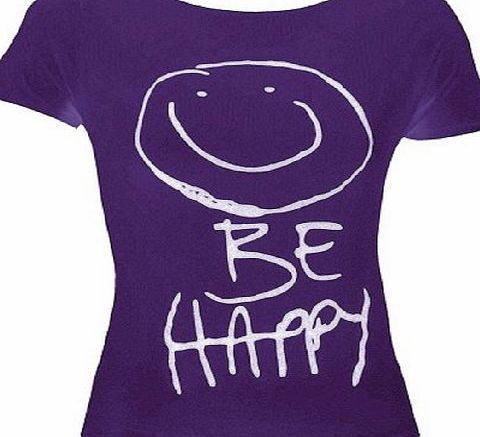 Funky Boutique Womens Short Sleeve Be Happy T-Shirt : Color - Purple : Size - 12-14 ML